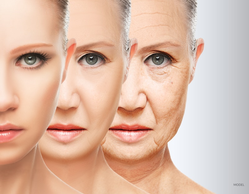 Woman at different stages of the aging process.