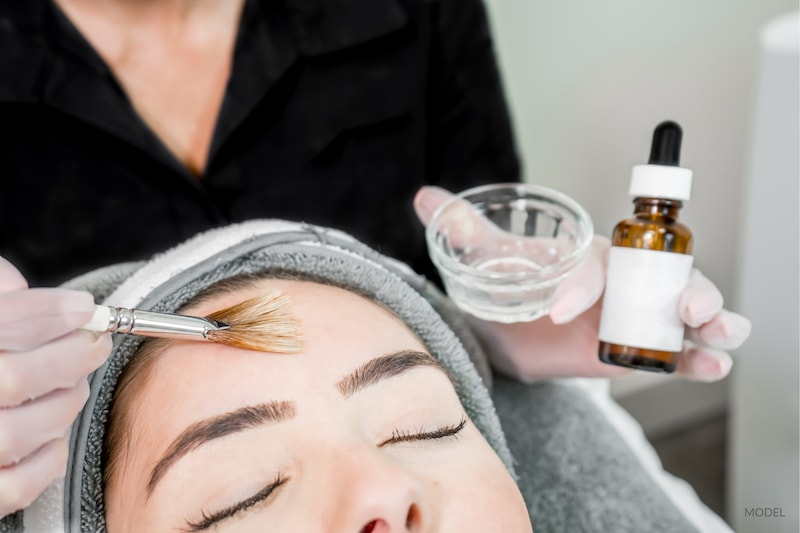 Woman undergoing a chemical peel